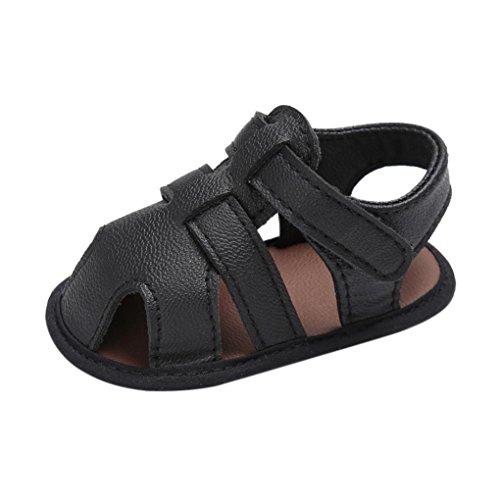 FNKDOR Baby Jungen Sandale Schuhe Rutschfest Lauflernschuhe (12-18 Monate, Schwarz)