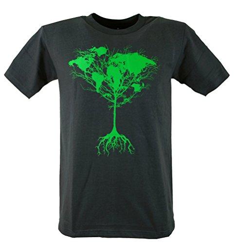 Fun T-Shirt `Weltbaum` / Spaß T-Shirts Grau