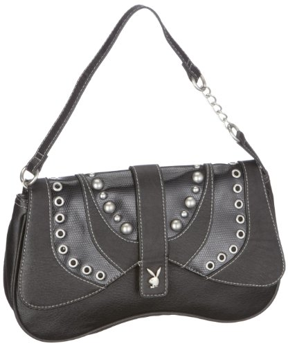 Playboy PA7670-BLK STUDDED RANGE SHOULDER BAG BLACK, Damen Clutches, Schwarz (black), 29x17 cm (B x H x T)