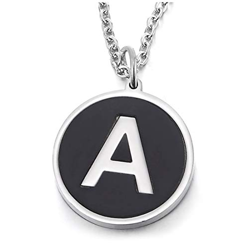 COOLSTEELANDBEYOND Argento Nero Nome Iniziale Lettera di Alfabeto A Cerchio Ciondolo Collana con Pendente Donna Uomo Acciaio 45 Catena