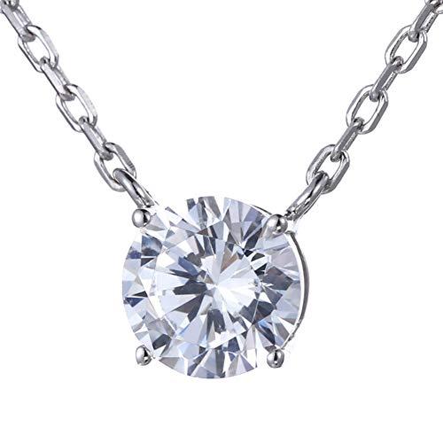 Göttin Wind Kostüm - TYZDY Damenhalskette Sterling Silber Vierzackige, einzelne Diamant-Schlüsselbeinkette Flash Diamond Zirkon Runde Diamanthalskette