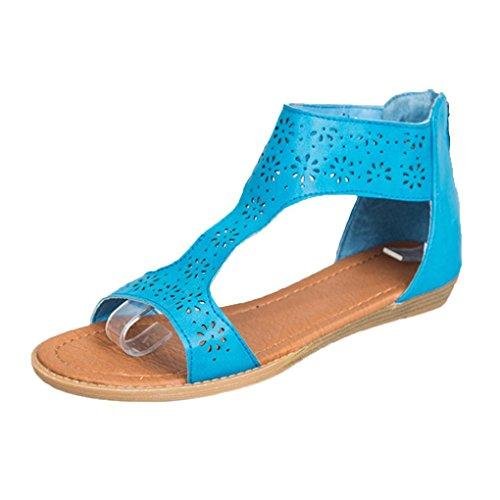 FNKDOR Damen Römersandalen T-Spangen Sandalen Peeptoe Reißverschluss Schuhe (36.5, Blau) (Peep Toe Schuhe Leopard)