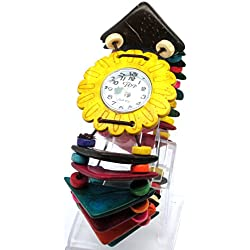 Multi-Coloured Beaded Stretch Strap Watch with White Round Face with Yellow Flower Shaped Bezel