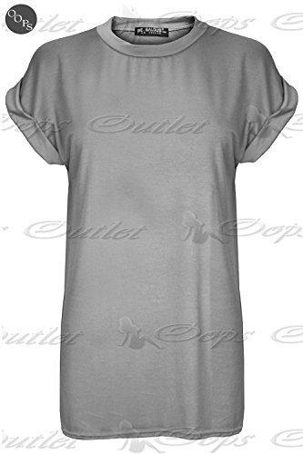 Femmes Extensible Élastique Uni Baggy Coupe Large Ras De Cou Court Retroussées Mancheron T-shirt Haut Gris uni