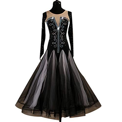 Ballsaal Tanzkleider Frauen-Wettbewerb Lange Ärmel Kristalle/Strasssteine hochwertiges Ballsaal-Kleid Tango Waltz Moderne Performance-Kostüm, ()