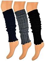 1 bis 3 Paar Stulpen Beinstulpen mit Wolle Schwarz Blau Grau im Strick Design - Manouxx - sockenkauf24