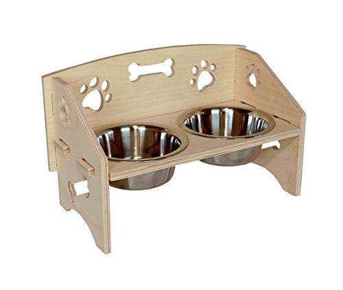 FURniture Holz Pet Wassernapf Stehen, mit Paw & Bone Aussparungen ~ Klein -