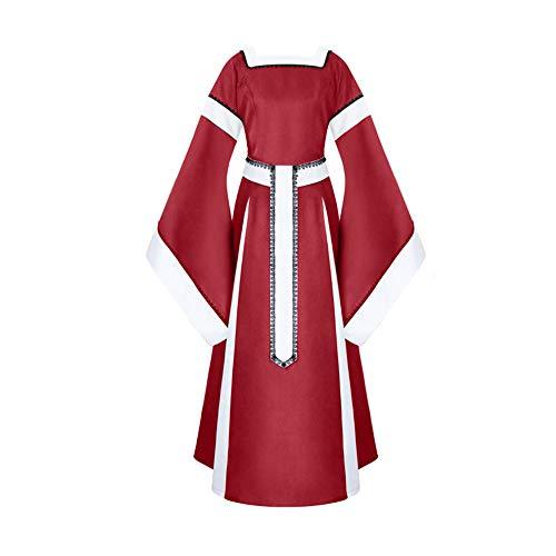 Lazzboy Frauen Kostume Fur Damen Verband Patchwork Spitze Mittelalterliche Hülsen Langes Kleid Vintage Mittelalterlichen Cosplay Mittelalter Party Kostüm - Göttin Kostüm Für Jugendliche