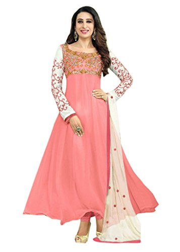 Samay Creation Pink Georgette Embroidered Semi-stitched Anarkali Salwar Suit Dress Materials