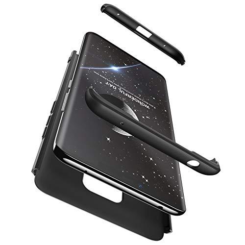 Huawei Mate 20 Pro Hülle Huawei Mate 20 Pro Handyhülle 3 in 1 Ultra Dünner PC Harte Schutzhülle 360 Grad Hülle + Panzerglas für Huawei Mate 20 Pro Komplett Hülle Fullbody Case Cover - Schwarz
