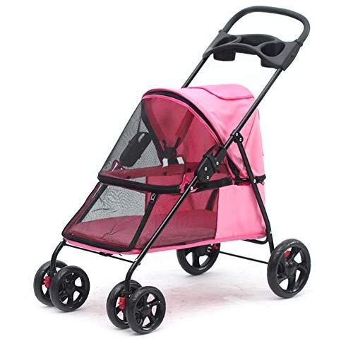 GHH Hundebuggy Praktischer Kinderwagen,Reisen Leicht Zu Falten Tragbare Großraum Vierrad Wagon Pet Outdoor Reisezubehör Bis Zu 15 Kg,Pink