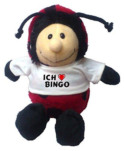 Personalisierter Marienkäfer Plüschtier mit T-shirt mit Aufschrift Ich liebe Bingo (Vorname/Zuname/Spitzname)