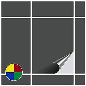 FoLIESEN Fliesenaufkleber für Bad und Küche - 15x20 cm - dunkelgrau matt - 90 Fliesensticker für Wandfliesen