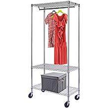 HLC Perchero para colgar ropa con ruedas y barras(altura ajustable 195 x 91 x 45cm con 3 estantes)