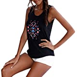 Frauen-Sommer-Trägershirt, HUYURIBöhmische, ärmellose O-Neck-Bluse mit Print