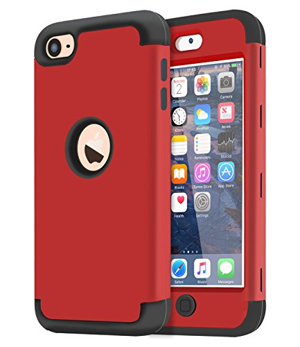 Dailylux iPod Touch 7 Hülle,iPod Touch 5/6 Hülle,3in1 Hybrid Schutzhülle PC + Weiche Silikone Anti-stoß Schutzhülle Tasche Case Cover für Apple iPod Touch 5/6/7th Generation-Rot+Schwarz - Apple Ipod Touch Cases