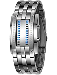 Sannysis® Mujeres de lujo de acero inoxidable Fecha reloj del deporte LED Digital Plata
