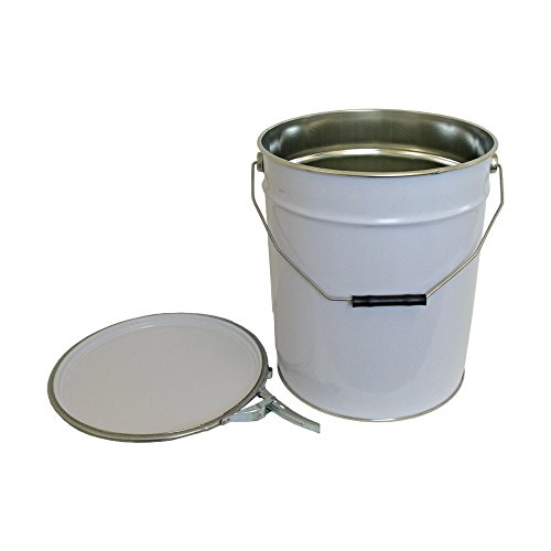 20 Litre Ltr L Metal Bucket White with Lid and Ring Latch Plain Interior for Solvent Based Products UN Approved Storage Garden DIY Paint Chemicals Test