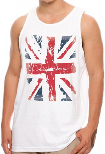 OM3 - ENGLAND - Tank Top Union Jack Vintage Great Britain Commonwealth GBP Windsor Westminster Abbey, S - 4XL Weiß