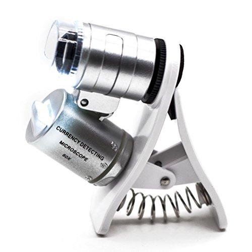PROW® 60X Zoom LED-Clip-On Mikrolinsenmikroskop Lupe Für 60X Zoom LED-Clip-On Mikroskop Lupe Micro Objektiv zum SmartPhones iPhone Samsung HTC Sony und Tablets