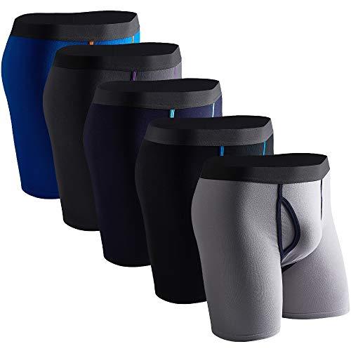 DODOMIAN Mens Boxer Briefs 5 Pack No Ride-up Cotton Boxer Briefs Underwear Open Fly with Pouch ... (DNKD013, Medium)