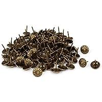 25stk Leder Sofa runden Kopf Polsterung Nagel schwarz Bronze Ton 11mm x 17mm