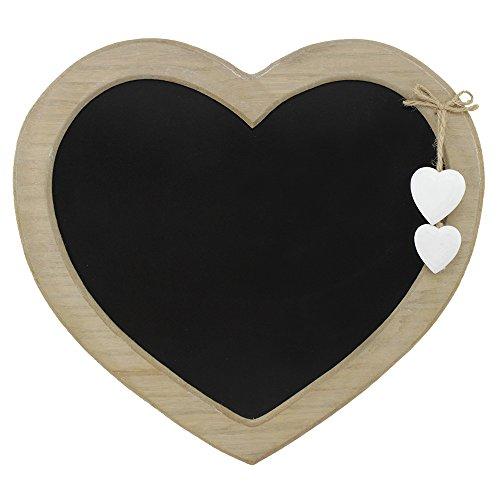 COM-FOUR® Memotafel im Landhausstil, Küchen- und Notiztafel in Herzform aus Holz mit Dekoherzen, 30,5 x 27,7 cm (30.5x27.7cm)