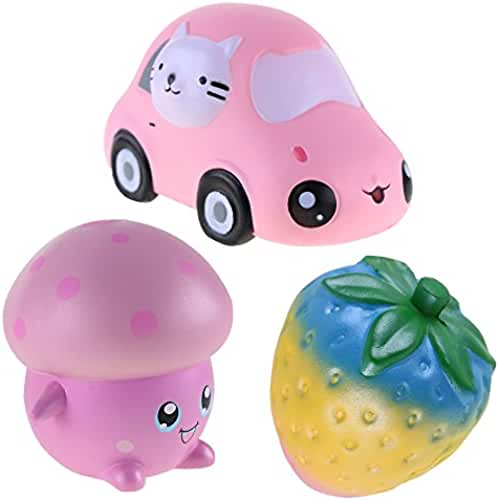 juguetes kawaii VLAMPO rosybeat 3PCS Jumbo Squishies Rainbow Strawberry/Kawii Car/Rosa Mushroom Jumbo Slow Rising Squishy Juguetes perfumados Kawaii Squishy Decoration juguetes para niños y adultos