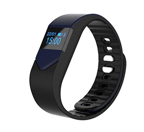 """Dax-Hub-M3S, Bluetooth 4,0 Smart impermeabile IP66, con rilevatore Calorie, monitoraggio sanitario-Contapassi; polsino, con cardiofrequenzimetro, telefonata & con messaggio """"Sincronizzazione, con telecomando, compatibile con fotocamera Android 4,3 e 4,4/4,5// 5,0, IOS 5,1 7,1 8,1 8 9,0 9,1 iphone 4s/5s/6/6s smartphone"""