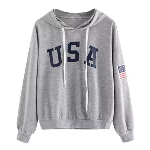 iHENGH Sweatshirt, Damen Hoodie Letter Flag gedruckt Sweatshirt Langen Ärmel Pullover Tops Bluse