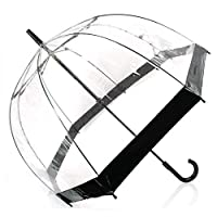 Fulton Birdcage 1 Umbrella Black Trim Bubble Dome Transparent Umbrella Half Automatic Handle Clear for Kids