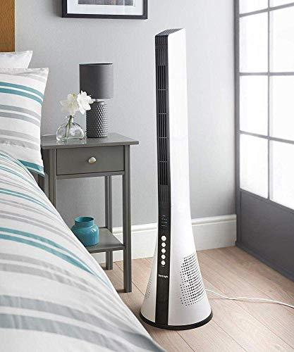 Summer Air Cooler Kleiner Oszillierender Blattloser Turmventilator, Fernbedienung 3 Geschwindigkeiten Slimline Design Timer Sleep Mode, WOZUIMEI -