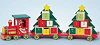 48cm Wooden Train Christmas Tree Advent Calendar with 2 Carriages