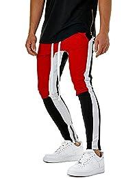 Pantalones Hombre Moda Empalme Casual Hip Hop Bolsillo Cadena Deportiva Pantal/ón Chandal Hombre con Cord/ón BIBOKAOKE