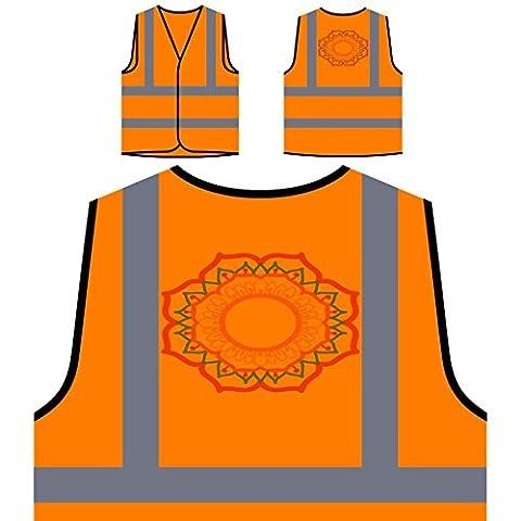 Mandala Orange Circle Personalized Hi Visibility Orange Safety Jacket Vest Waistcoat n345vo