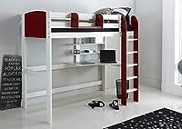 Scallywag Kids High Sleeper Bed - White/Red - Straight Ladder - Integral Desk & Shelves. Made In The UK.