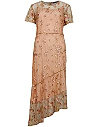 2ca5f54641dd5 Marks   Spencer Embroidered Short Sleeve Occasion MIDI Dress Lace Overlay  M S