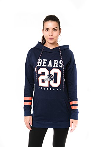 Chicago Tunika (Icer Brands NFL Damen Slim Fit Tunika Pullover Hoodie Sweatshirt, JTL2188A-CR-XLarge, Navy, XL)