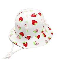 SYROSA Sun Bucket Hat for Baby Girls Travel Beach 50+ UV Sun Protection Wide Brim 3-6months Strawberry