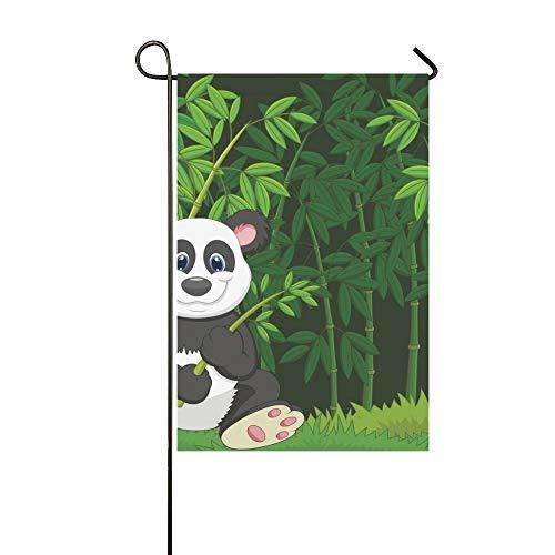 JOCHUAN Wohnkultur Cartoon Panda Dschungel Bambus Garten Flaghouse Yard Flaggarden Yard Decorationsseasonal Willkommen Outdoor Flagge 12X18 Zoll