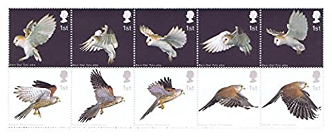 Birds of Prey stamps - 10 x 1st Class Royal Mail Mint Postage Stamps. 2003 Birds of Prey stamps featuring the Barn Owl and Kestrel by Royal Mail Stamps