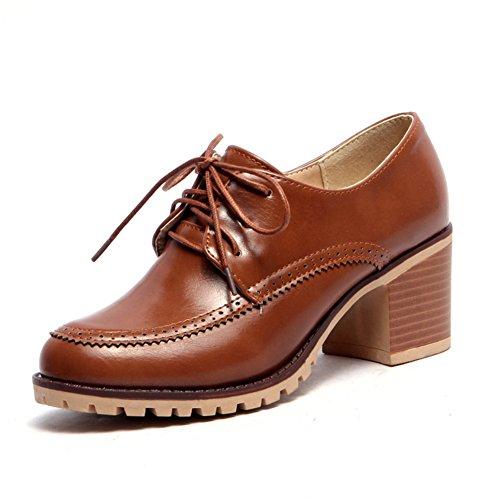 Chaussures de style britannique féminin au printemps et en été/profonde des liens étroits avec chaussures occasionnelles/Chunky talons chaussures femme C