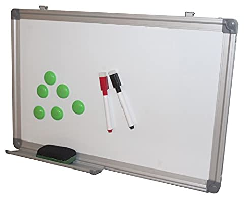 Product Nation 30 x 45cm Whiteboard Dry wipe Magnetic with Pen Tray, Aluminum Trim and Accessory