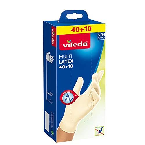 Vileda Multi Latex 40+10 Einmalhandschuhe ungepudert, Größe S/M, 50 Stück