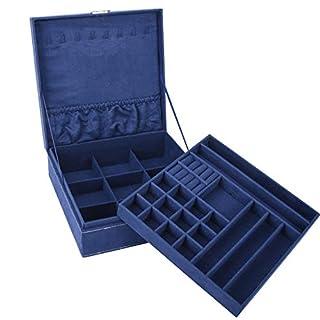 Autoark zweilagige Fussel-Schmuckkästchen mit Schloss, herausnehmbare Trennwand für Halskette, Ohrringe, Armbänder, Ringe, Uhren und Accessoires Marineblau