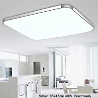 48W LED Ceiling Lights Azerogo 3000K Super Bright 65cm*43cm LED Ceiling Lamp for Bathroom, Kitchen, Hallway, Office,Flush Ceiling Light, Bathroom Ceiling Lights Warm white by Azerogo