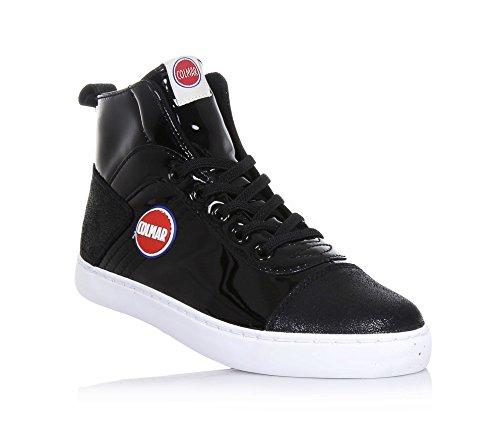 Colmar Sneaker à lacets noire en polyuréthane et cuir suédé, avec fermeture éclair latérale, Fille, Filles, Femme, femmes