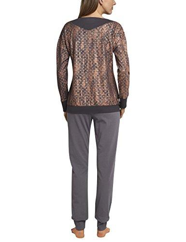Schiesser Damen Zweiteiliger Schlafanzug Anzug Lang Braun (Braungrau 303)