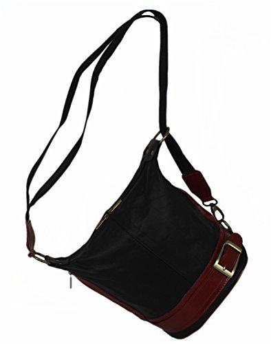 Leatherworld, Borsa a zainetto donna nero nero/rosso nero/rosso