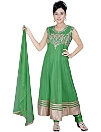 Divinee Green Color Stone Worked Readymade Anarkali Suit For Women